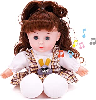 Yakilada Soft Music Baby Doll, 13 Inch Cute Doll with Hair, My First Doll for Infants, Toddlers and Kids, Perfect Birthday...