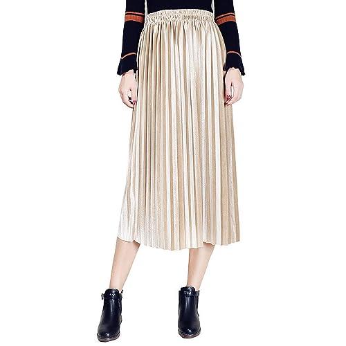 54557d3d3c Clarisbelle Women's Pleated Velvet Skirt Premium Metallic Shiny Shimmer  Accordion Elastic High Waist Midi Skirt
