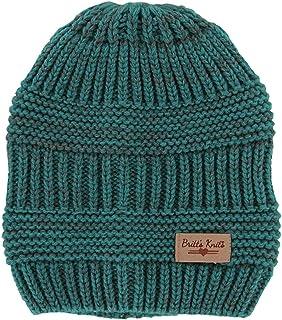 Britt's Knits Women's Standard Acrylic Beanie Hat, Teal/Gray, One Size