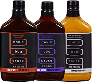 Haks BBQ Sauce, 3 Pack Bundle in Different Flavors, Brown Sugar Garlic, Smoked Maple Mustard and Chipotle Bourbon, 15.5 Oz