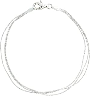 "Sterling Silver 3 Row Rope Chain 7 3/8"" Bracelet"
