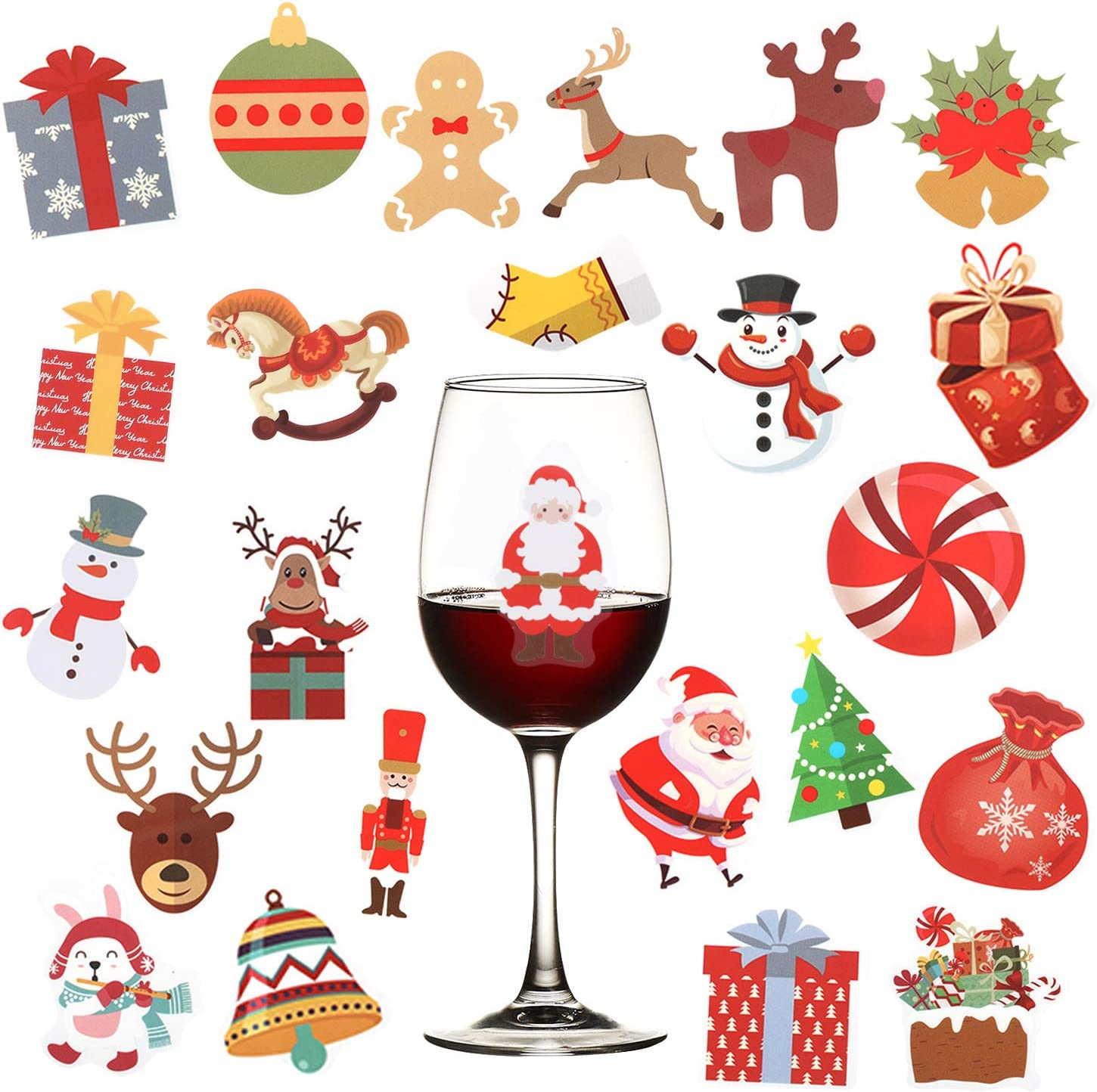 5 Sheets 120pcs Christmas Wine Genuine Free Shipping Glass Xmas Import Static Markers- Drink