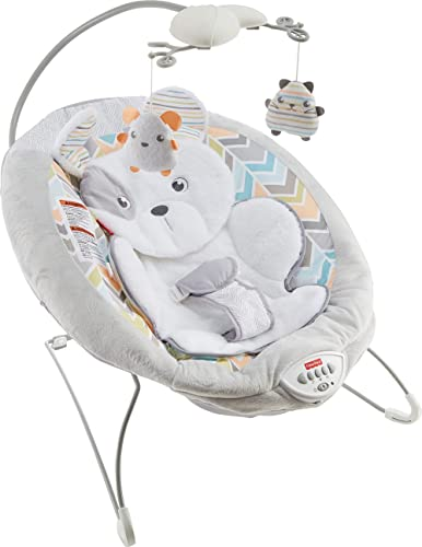 Fisher-Price Sweet Snugapuppy Deluxe Bouncer, Portable Bouncing Baby Seat with Overhead Mobile, Music and Calming Vib...
