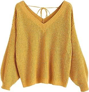 DEZZAL ZAFUL Women's V-Neck Lace Up Drop Shoulder Pullover Oversized Knit Sweater