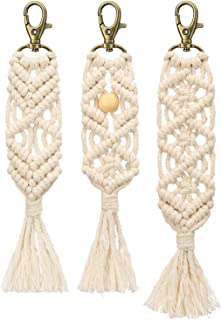 Mkono Mini Macrame Keychains Boho Macrame Bag Charms with Tassels Handcrafted Accessory for Car Key Purse Phone Wallet Unique Gift, Natural White, 3 Pack