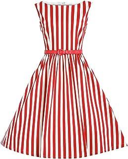 a3c569c564bdaf Babyonline Damen Ohne Arm Streifen Stil Hepburn Freizeit Midi Kleid  Tanzkleid Cocktailkleid Abendkleid Partykleid
