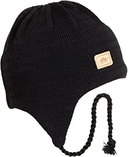Turtle Fur Men's Solid Classic Wool Ski Hat Earflap, Black