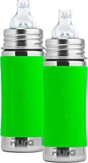 Pura Kiki Stainless Steel Toddler Sippy Bottle with Green Silicone 11 Ounce, Set of 2