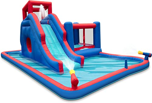 wholesale Deluxe Inflatable Water Slide Park – Heavy-Duty Nylon Bounce House for Outdoor Fun - Climbing Wall, outlet online sale Slide, Bouncer & Splash Pool – Easy to Set Up & Inflate with Included Air Pump & Carrying outlet online sale Case online