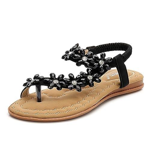 898804c33736 BELLOO Women s Summer Boho Flat Sandals Peep-Toe Flip Flops Rhinestone Beaded  Shoes with Ankle