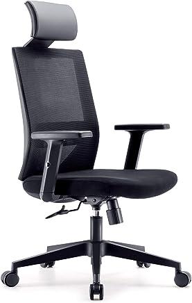 SIHOO 人体工程学办公室椅电脑桌椅,可调节头枕椅靠背和扶手的网布椅(黑色)