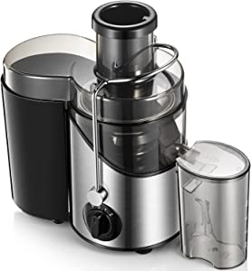 Juicer Machines 3'' Wide Mouth, Juice Extractor Easy to Clean, 3 Speed Centrifugal Juicer for Fruits and Vegs, Non-Slip Feet, BPA-Free