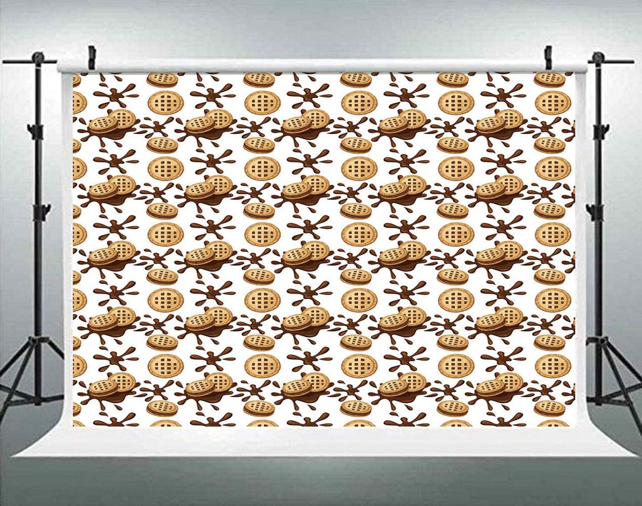 Sandwich Cookies Biscuits with Cocoa Cream Graphic ALUONI 5x3ft Chocolate Backdrop for Selfie Birthday Party Pictures Photo Dance Decor Wedding Studio Background AM007509
