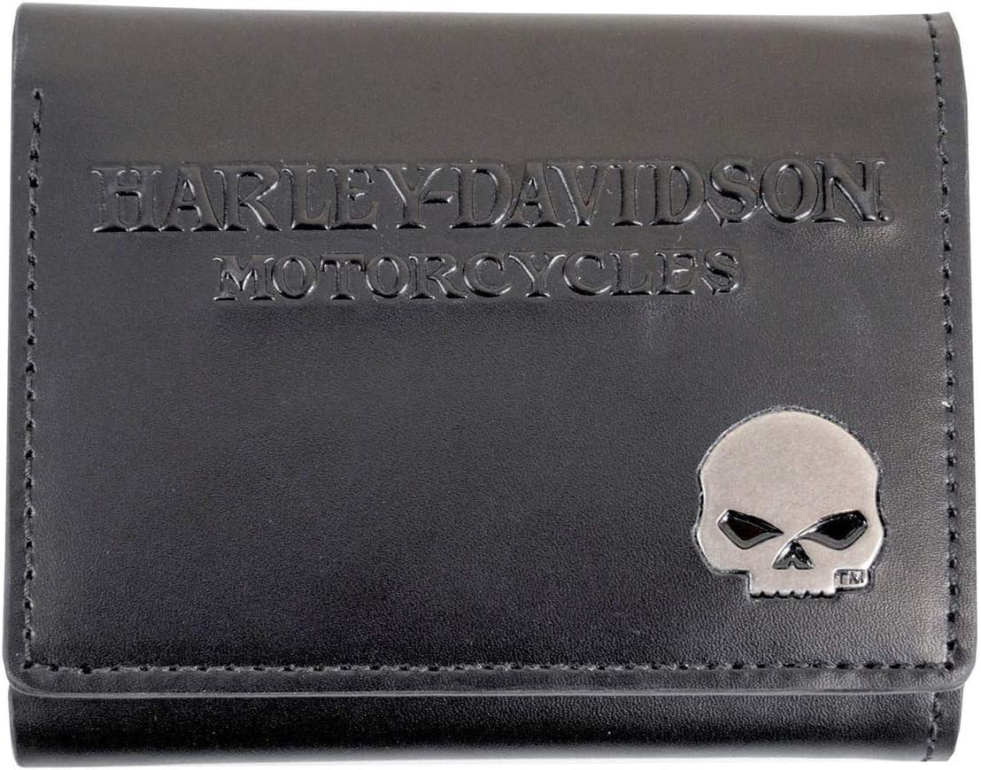 Harley-Davidson Mens Willie G Skull Black Leather Trifold Wallet