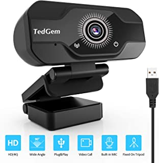 TedGem Webcam Full HD Webcam 4K/1080P Streaming Cámara Web con Micrófono USB Webcam para Video Chat y Grabación Gaming Pequeña Flexible y Ajustable Compatible con Windows Android Linux
