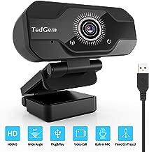 TedGem Webcam, Full HD Webcam 4K/1080P Streaming Cámara Web con Micrófono USB Webcam para Video Chat y Grabación, Gaming, Pequeña, Flexible y Ajustable, Compatible con Windows, Android, Linux