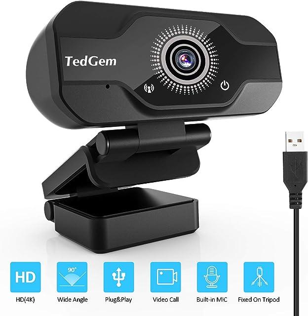 TedGem Webcam Full HD Webcam 4K/1080P Streaming Cámara Web con Micrófono USB Webcam para Video Chat y Grabación Gaming Pequeña Flexible y Ajustable Compatible con Windows Android Linux