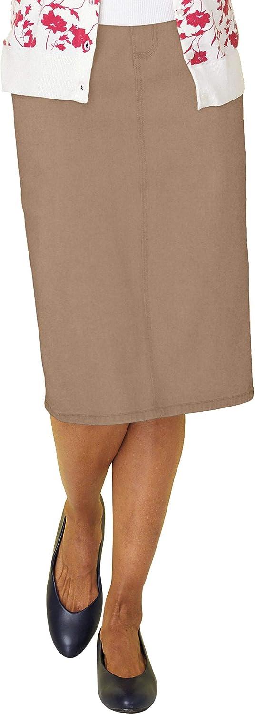 Women's Classic Denim Skirt Knee Length Five Pockets Zip Front Khaki 22 Women