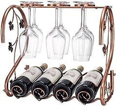 Metalen wijnhouder Tafelblad wijnrek Opslag Wijnhouder - Huisdecoratie Ambachten Wijnrek, kan 4 flessen wijn en 6 wijnglaz...