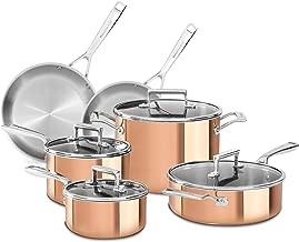 KitchenAid KC2PS10CP 10 Piece Tri-Ply Copper Set, Satin Copper, Medium