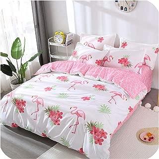 Flamingo Plant 4Pcs Kid Bed Cover Set Cartoon Duvet Cover Adult Child Bed Sheets and Pillowcases Comforter Bedding Set,001,Queen 4Pcs 200X230