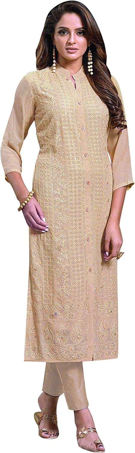 Spring new work ladyline Lucknowi Chiffon Embroidered Kurti K Lakhnavi excellence for Women