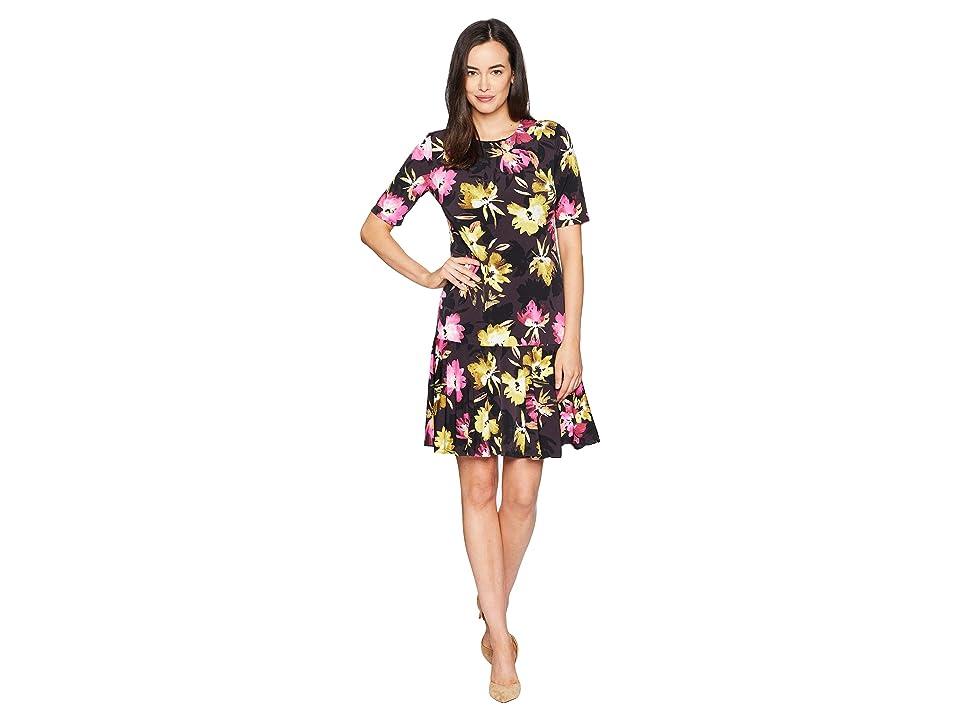 Ellen Tracy Elbow Sleeve Dress with Handkerchief Hem (Rainbow Flowers Multi) Women