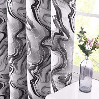 KGORGE Extra Long Curtain Blackout - Print Flowing Rock Magma Pattern Light Block Window Treatment Panels for Bedroom Sliding Glass Door Shade, 52 x 95 inch Long, Grey, 2 Pieces