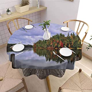 VICWOWONE Round Tablecloth Dinner Lake for Relatives Wooden Dock and Island Ablaze in Fall Splendor Ludington State Park in Michigan USA Diameter 51