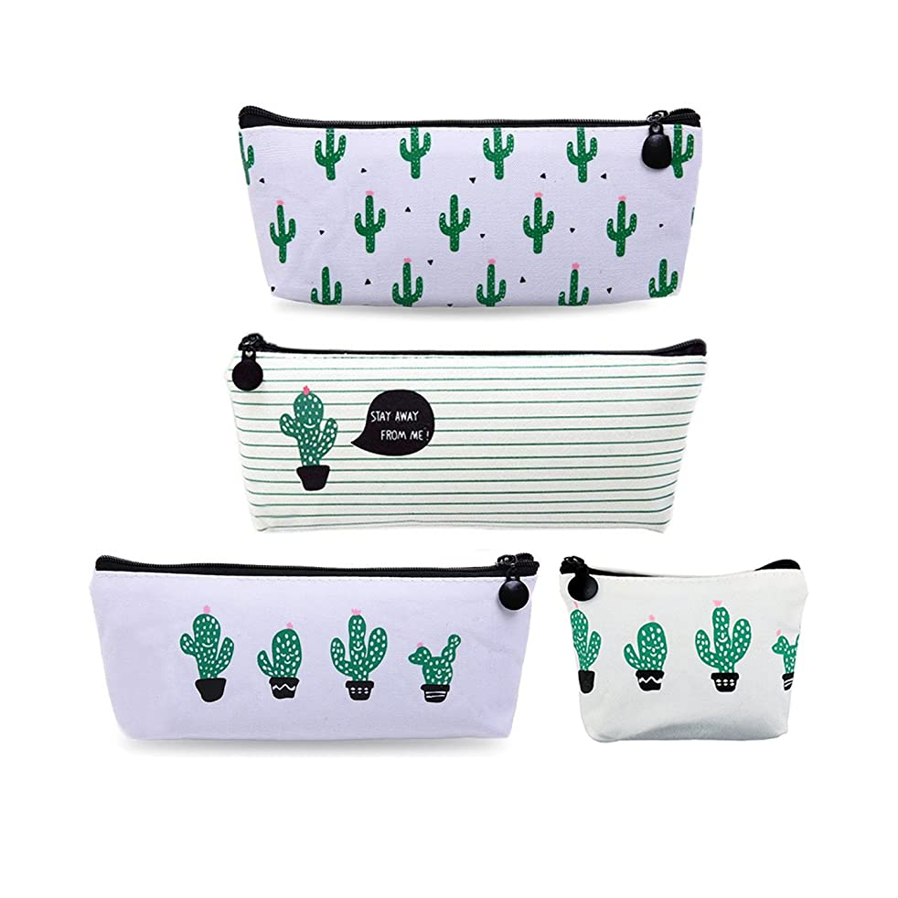 Canvas Cactus Pencil Case,Bingolar Cactus Pencil Holder Canvas Cosmetic Pen Pencil Stationery Pouch Bag Case(4PCS)