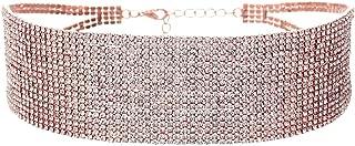 Women's 18 Strand Rhinestone Statement Choker Necklace
