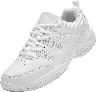 URDAR Zapatillas Mujer Hombre Transpirables Deportivas de Malla Antishock Sneakers Negro Blanco Zapatillas
