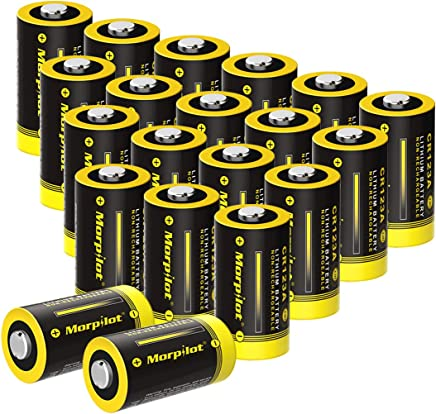Morpilot 3V CR123A Lithium Battery, High Capacity 20 Pack 1450mAh Non-Rechargeable CR123A Batteries PTC Protected for Flashlight, Camera, Toys, Alarm System (Not Compatible with Arlo Cameras)