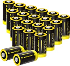 Morpilot 3V CR123A Lithium Battery, High Capacity 20 Pack 1500mAh Non-Rechargeable CR123A Batteries PTC Protected for Flashlight, Camera, Toys, Alarm System (Not Compatible with Arlo Cameras)