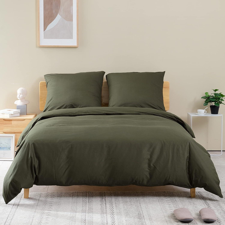 ATsense Juego de ropa de cama de 200 x 200 cm, algodón, 3 piezas, con cremallera, funda nórdica suave y cómoda y 2 fundas de almohada de 80 x 80 cm, color verde militar