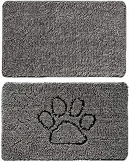 Gorilla Grip Original Indoor Durable Chenille Doormats, 36x24 Gray and 24x17 Paw Gray, 2 Item Bundle