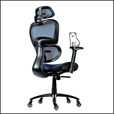 ObjectChair ErgoPro Ergonomic Office Chair - Desk Chair with Adjustable Lumbar Support, Breathable Mesh Back and Wheels - Gaming Chair, Computer Chair, Home Office Desk Chairs, Rolling Chair (Blue)