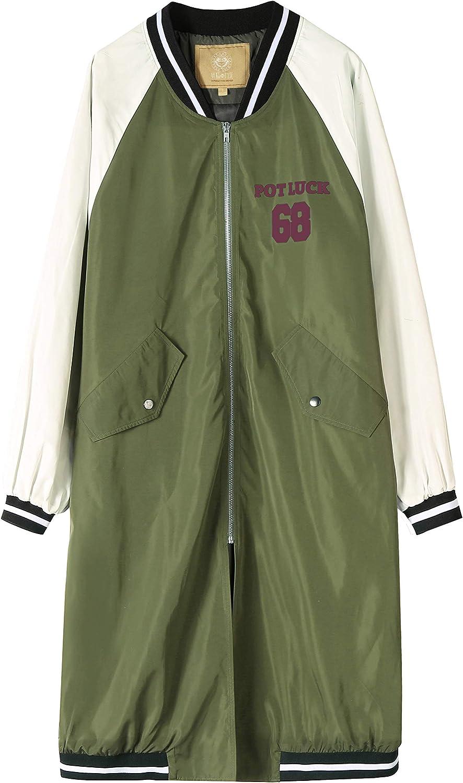 Elf Sack Damen Bomberjacke Retro Motorrad Übergangsjacke Print Mantel Parka Trenchcoat Light Long Bomber Jacket Olive