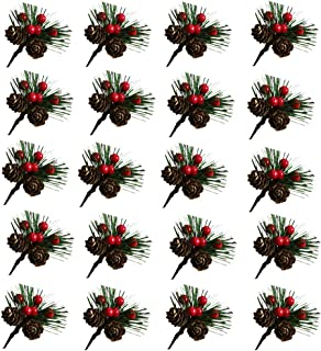 Dejean 20 PCS Artificial Pine Leaves Needle with Pine Cones and Artificial Berries for Christmas Thanksgiving Wedding and Home Decorations