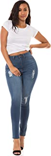 Aphrodite High Waisted Jeans for Women - High Rise Skinny Womens Hand Sanding Distressed Jeans