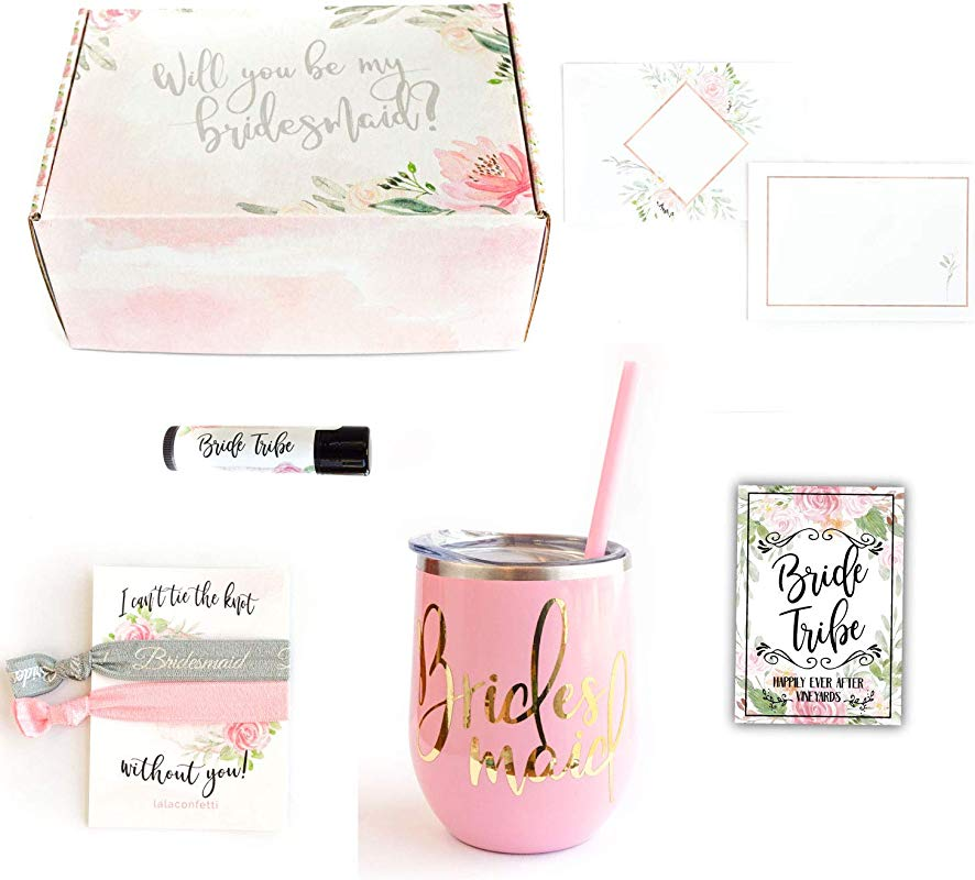 Bridesmaid Proposal Wedding Gift Box Party Favors With Wine Tumbler Hair Ties Pink Tumbler