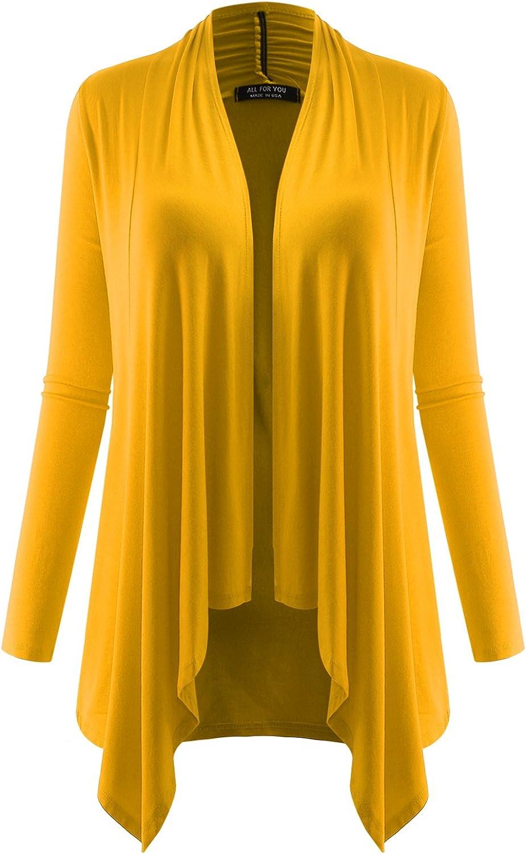 AMORE ALLFY Women's Long Sleeve Flowy Open Cardigan Mustard XXX-Large