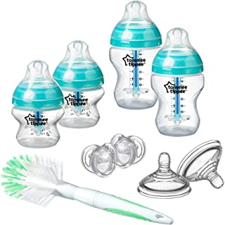 Tommee Tippee Advanced Anti-Colic Newborn Baby Bottle Starter Set, bröstliknande napp och värmesensorteknik, klar