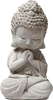 VIXU - Buda Bebé - Escultura de Polvo de Mármol con Cemento para Decoración - 20x10x10 cm