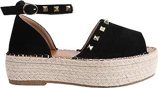 Womens Espadrille Peep Toe Ankle Strap Rivet Dress Flatform Wedge Sandals
