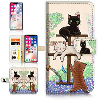 (for iPhone Xs MAX) Flip Wallet Case Cover & Screen Protector Bundle - A1944 Cartoon Cat
