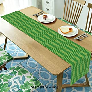 Irish Table runner for Farmhouse Dining Coffee Table Decorative,Retro Pattern in Vivid Green Cultural Fashionable Checkered Traditional Tile 14