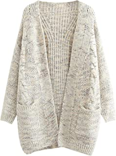 Women's Boyfriend Open Front Long Sleeve Cable Knit Aran Twisted Cardigan Sweaters Coat with Pockets