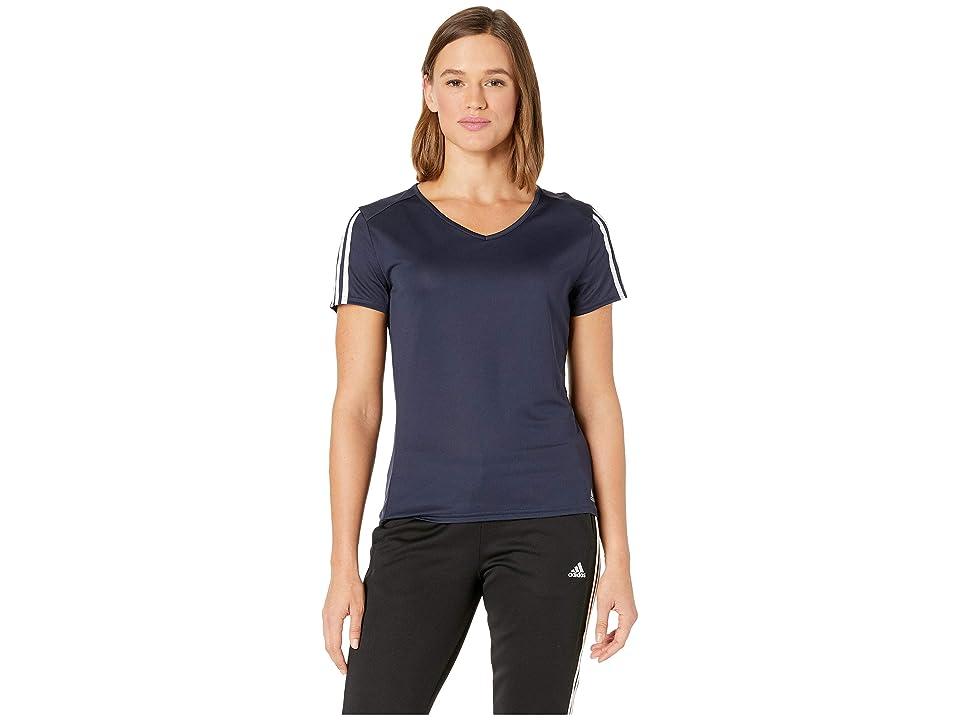 adidas Running 3-Stripes Tee (Legend Ink/White) Women's T Shirt, Black