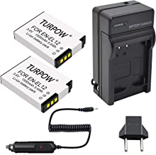 Turpow EN-E12 2 Pack Replacement Battery & Charger Compatible with Nikon Coolpix A900 AW100 AW110 AW120 AW130 S31 S800C S6100 S6200 S6300 S8100 S8200 S9050 S9100 S9200 S9300 S9400 P340